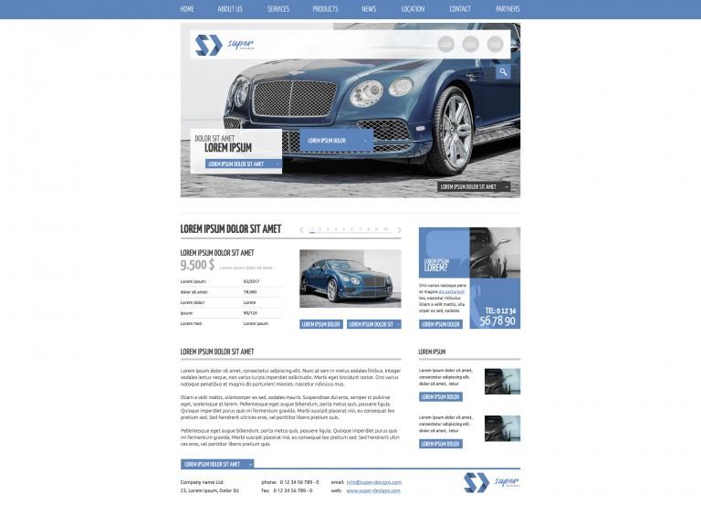 Blue Car Dealer PSD Template