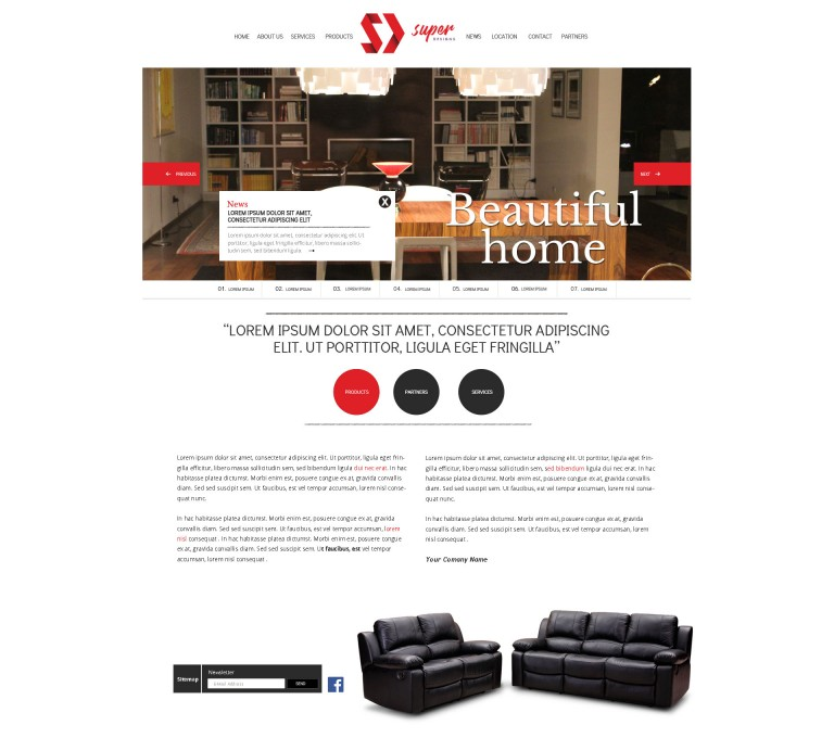 Beautiful Home Furniture PSD Template