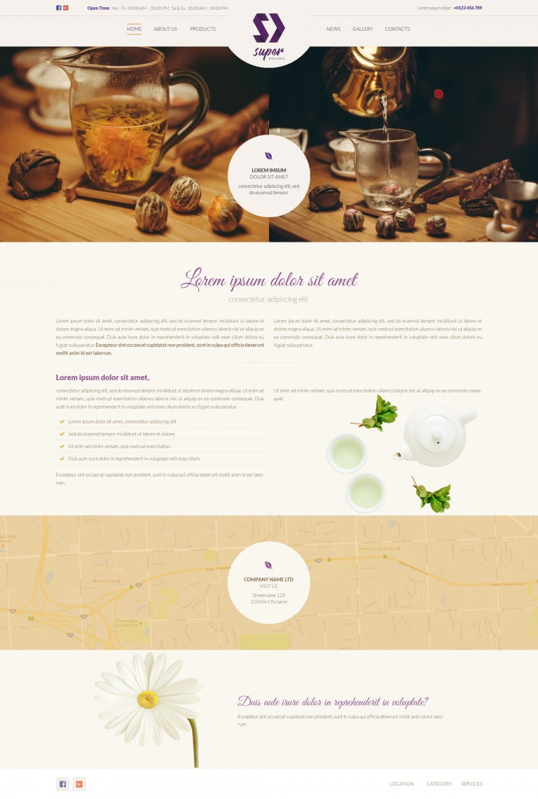 Modern Tea Shop PSD Template