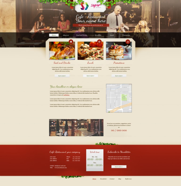 Milano Coffee Restaurant PSD Template