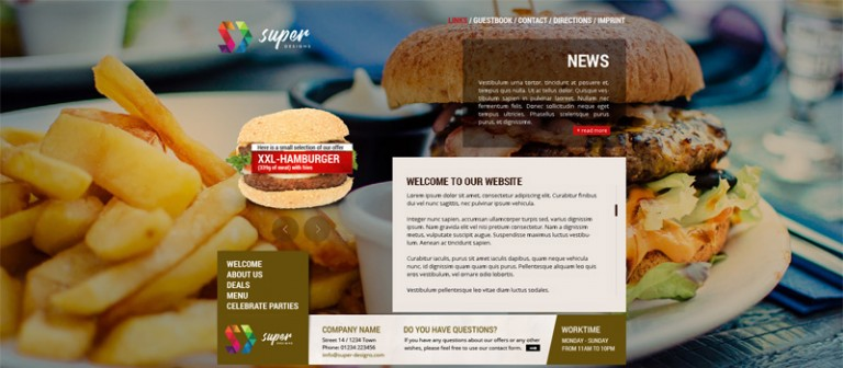 Burger Bar Food & Drinks PSD Template