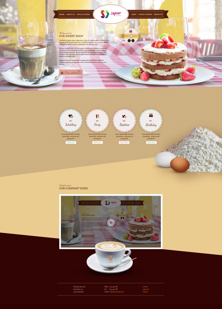 Pastry Cafe Tasty PSD Template