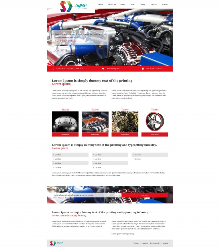 Car Tuning Auto PSD Template