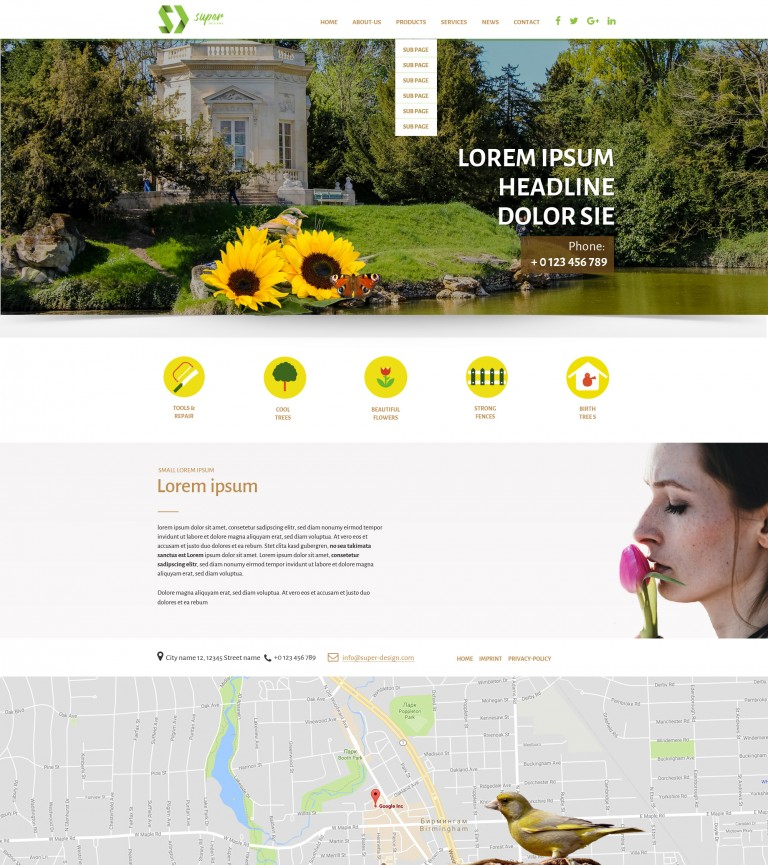 Sunflower Gardens PSD template