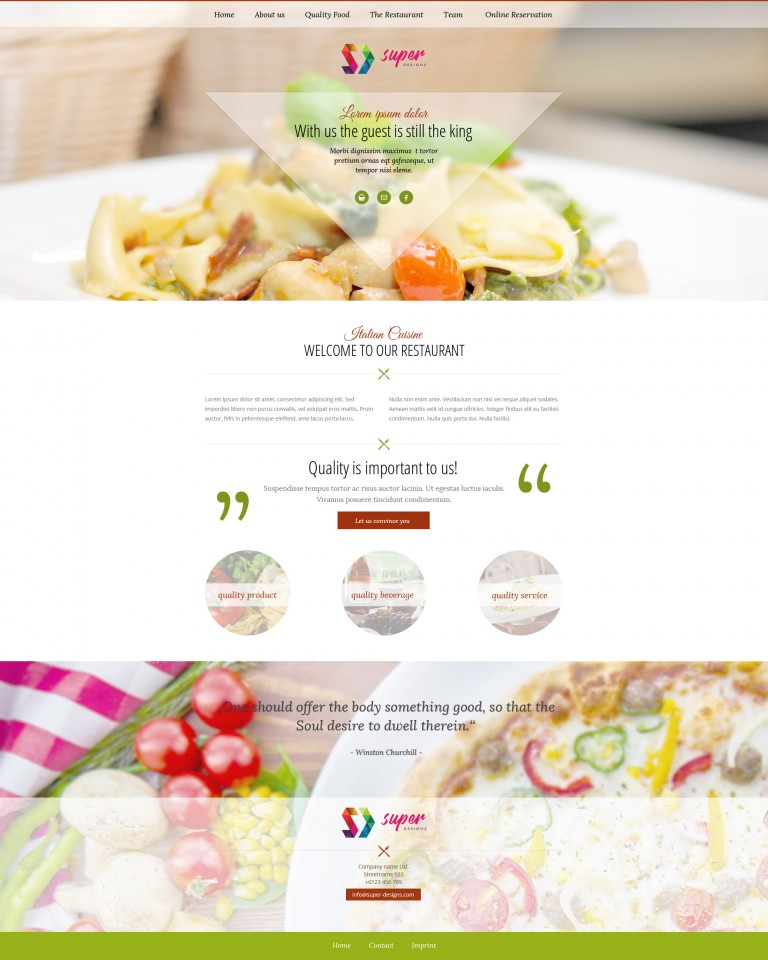 Italiano restaurant PSD template