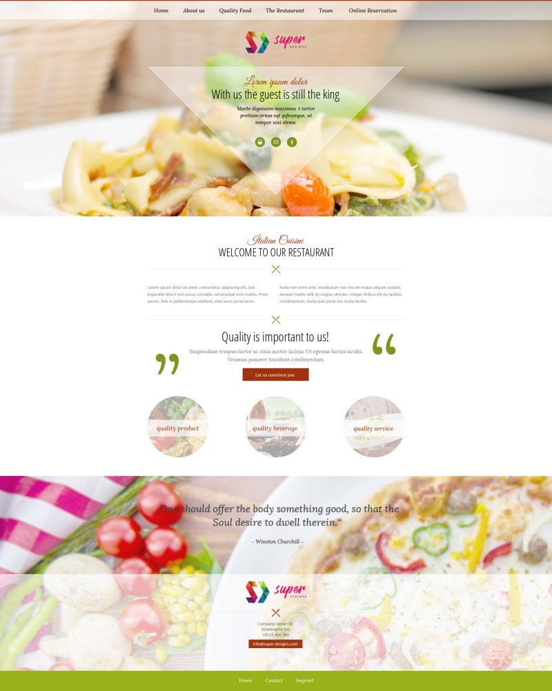 Italiano restaurant PSD template