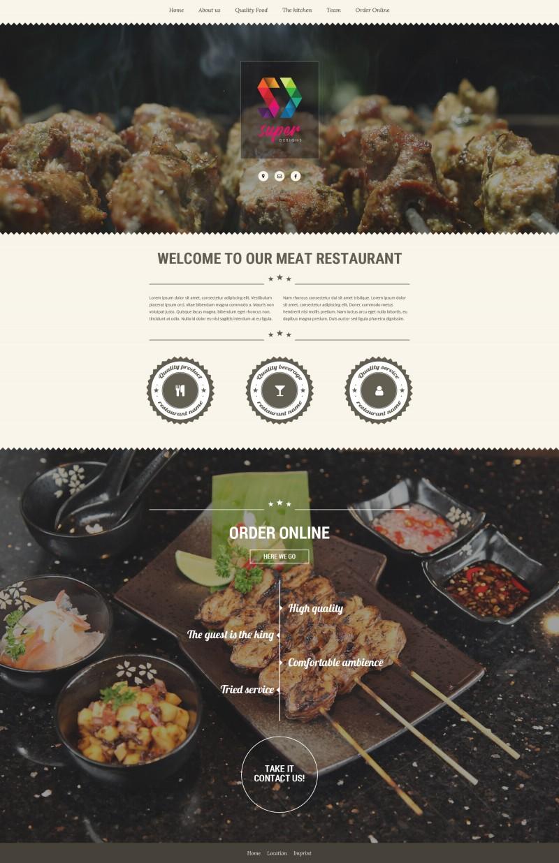 Meat Gourmet restaurant PSD template