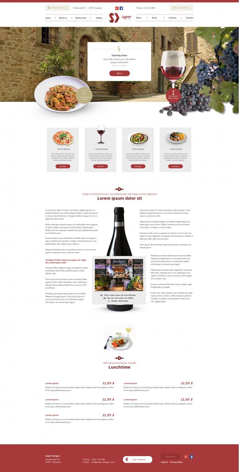 Chateau Food & Drinks PSD template