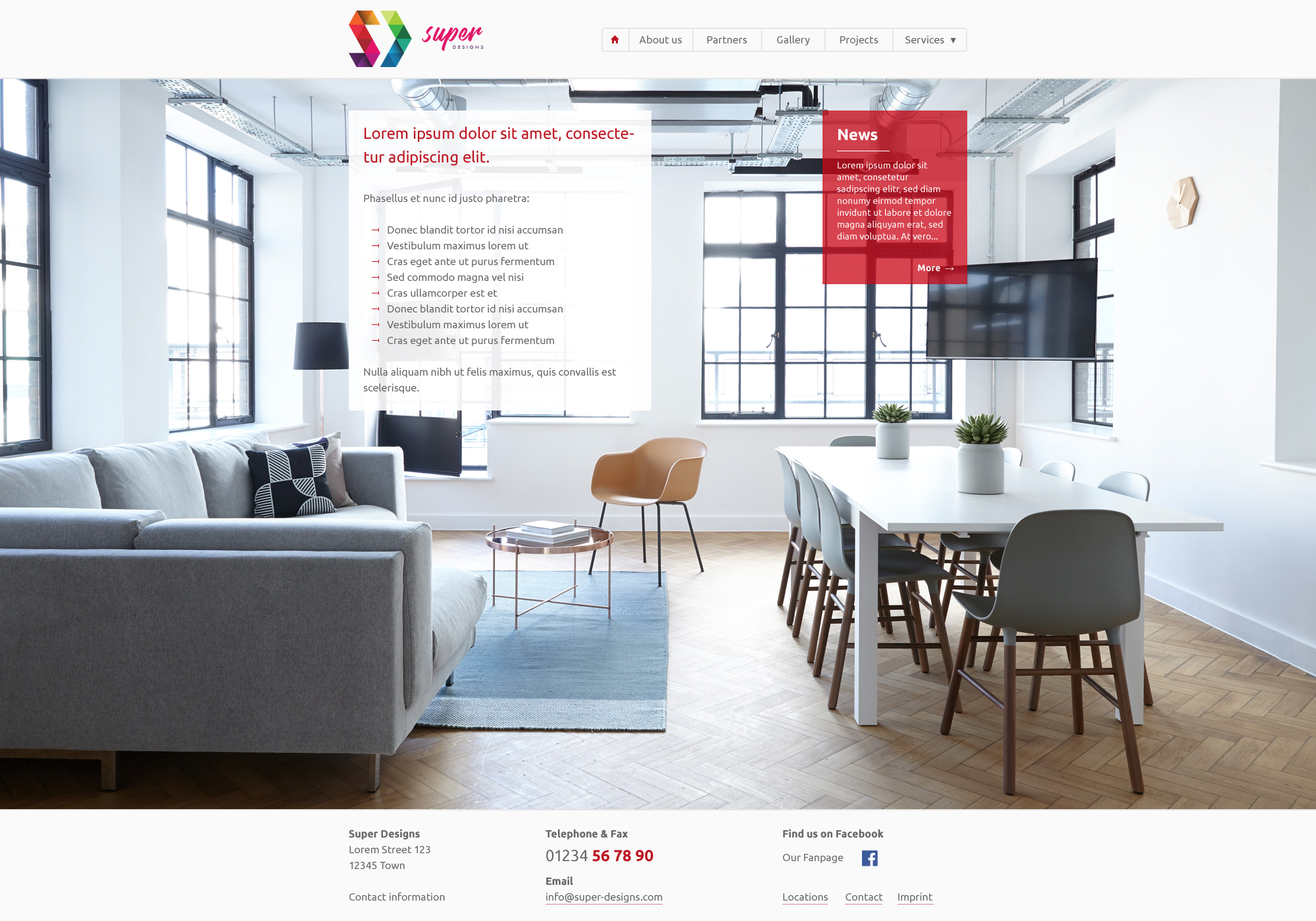 Interior design services psd template for Interior design services